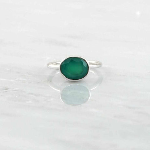Faceted Ring, Sterling Silver Ring, Green Onyx Ring, Birthstone Ring, Genuine Gemstone Ring, Christmas Gift for her, Oval Stacking Ring