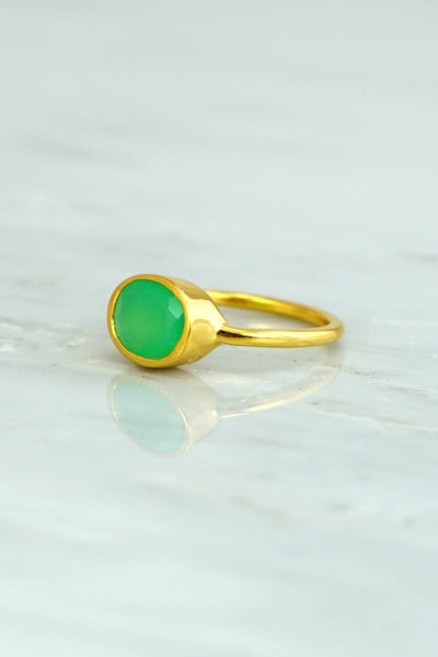 10k Gold Ring, Chrysoprase Ring, Gemstone Ring, Stacking ring, Statement ring, Natural Stone ring, Genuine Stone ring, Solid Gold ring
