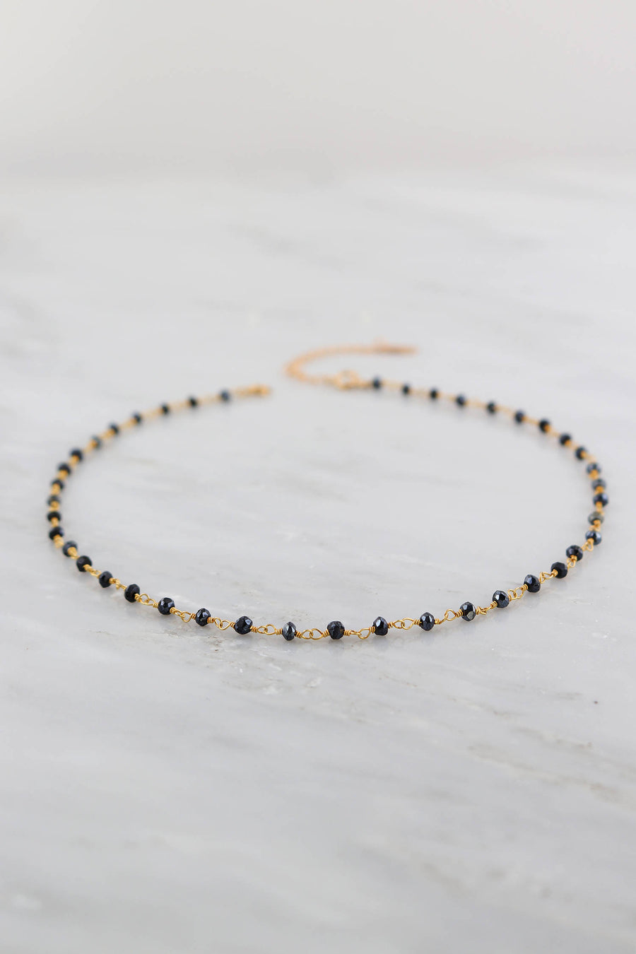 Black Spinel Wire Wrapped choker, Black Gemstone Choker, Choker Gift for Wife, Faceted Beaded Choker Chain, Gold Choker Chain, Gift for her