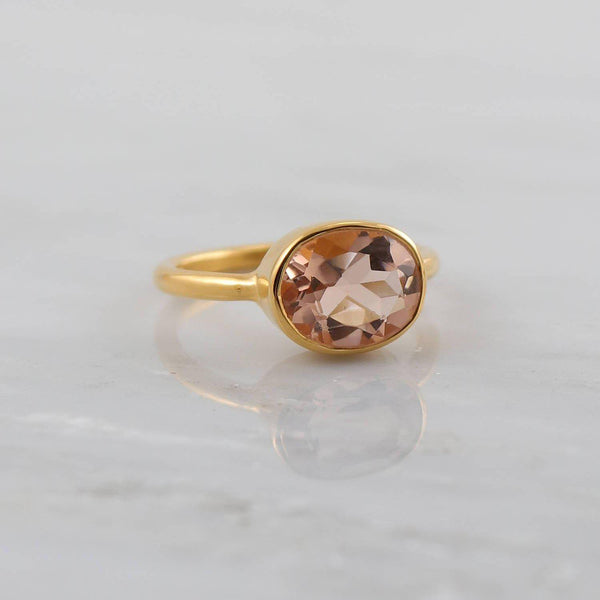 Morganite ring, Blush Gold ring, Wedding Ring, Stacking rings, Silver Stackable ring, Bridal gift, Elegant ring, Gift for wife, Faceted ring
