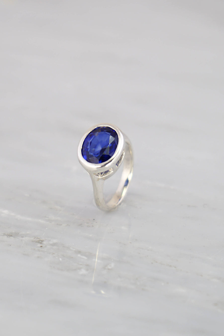 Blue Sapphire Ring, Silver Stackable ring, September Birthstone Ring, Stacking ring, Blue Gemstone Ring, Oval Shape ring, Sterling silver