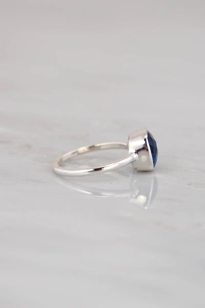 Iolite Ring, September Birthstone Ring, Stackable Cushion cut ring, sterling silver, Iolite Quartz ring