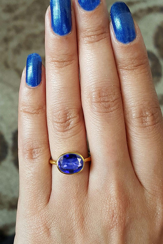 September Birthstone Ring Stacking ring Ceylon Sapphire ring Gold and Silver Stackable ring Blue Gemstone Ring Blue Sapphire Ring