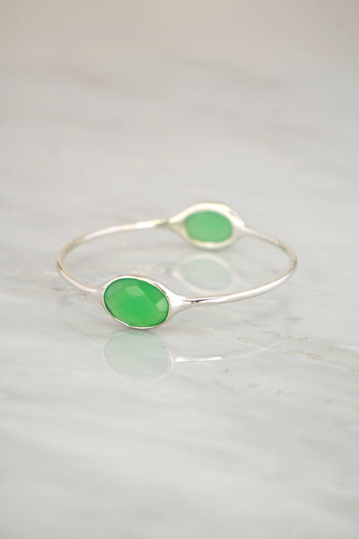 Green Chysoprase, Chalcedony Bangle Bracelet, Colored Gemstone Bangles,Green Gemstone ,Bezel Set Bangle,Multi stones Silver Bangle Bracelet