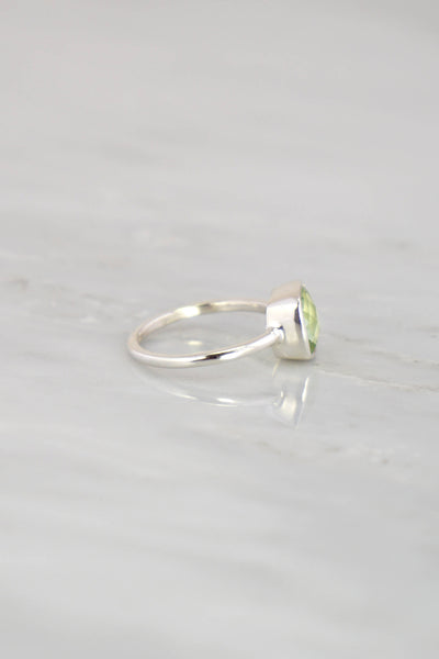 Prasiolite Ring, Gemstone Silver Ring, Green Quartz Ring, Faceted Stone, Green Amethyst, February Birthstone, Cushion cut ring