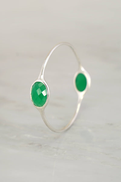 Emerald Green Bangle Bracelet, Colored Gemstone Bangles,Green Onyx Gemstone ,Bezel Set Bangle,Multi stones Silver Bangle Bracelet