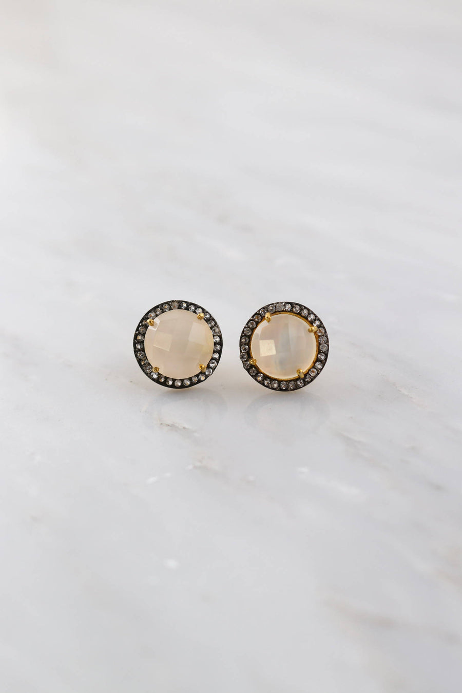 Chalcedony Studs Earring, Simple Post Studs, Oxidized Studs, Gold Studs Earring, Topaz Studs, Bridesmaid Gift, Gift for her, Designer Studs