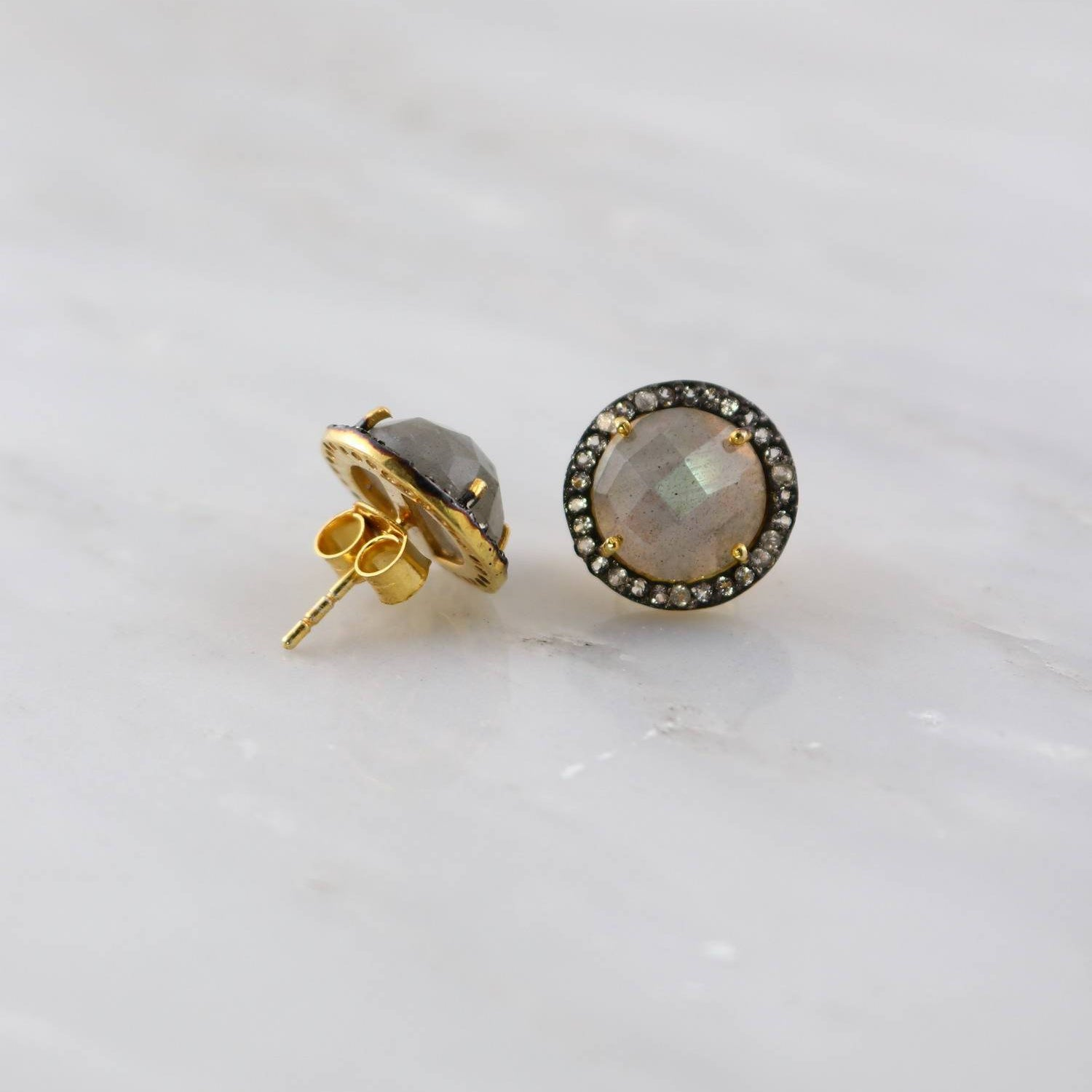 Gemstone Post Studs, Labradorite Studs, Bezel set Studs, Circle Gemstone Studs, Simple Studs, Bridesmaid Earring, Stud Earring, Gift for mom