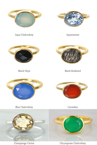 Oval Gemstone Ring, Genuine Stone ring,Stackable Ring,Silver 925 Ring,Birthstone Ring,Oval Bezel Ring,Colored Gemstone,Natural Stone
