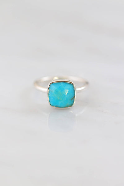 Turquoise Ring, Sleeping Beauty Ring, December Birthstone Rings, Cushion cut Ring, Silver Ring, 925 Silver, Everyday Ring, Stackable rings