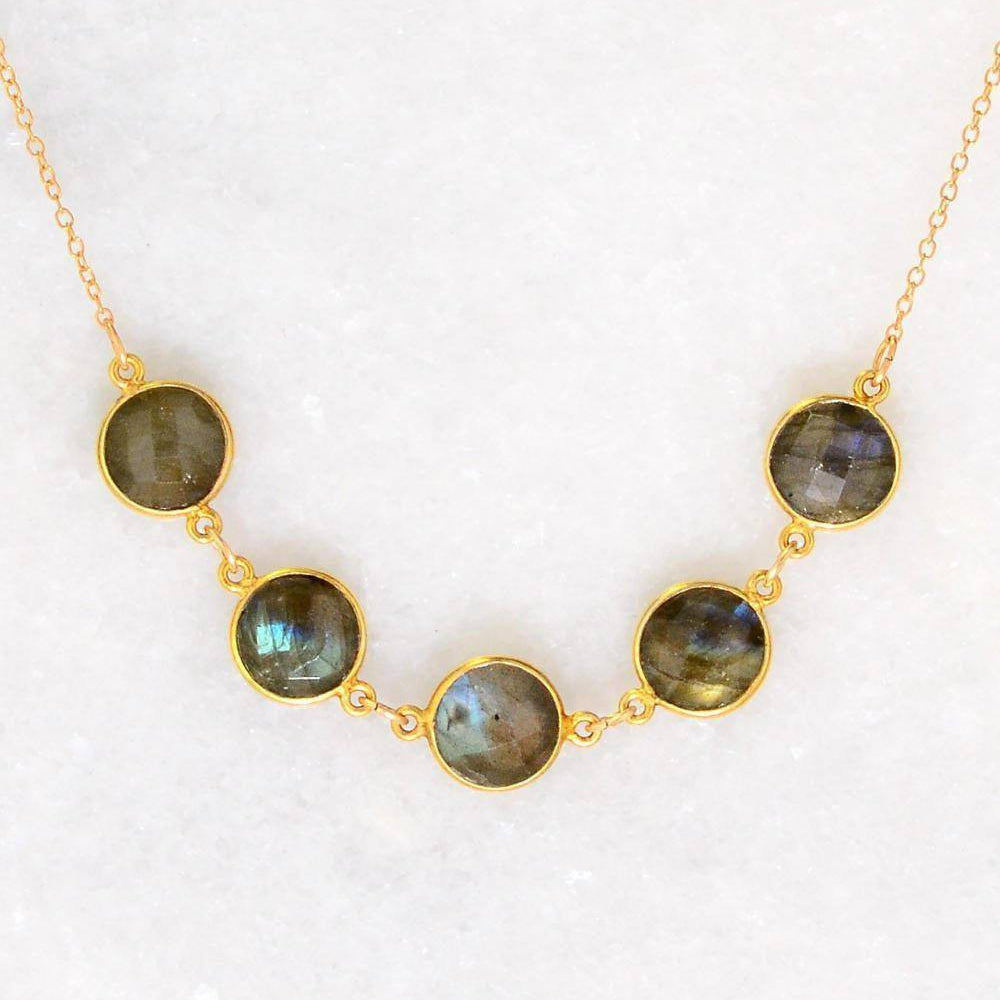 Multi stone Gemstone  Necklace - Bezel set Necklace - Gemstone Necklace - Mother's Necklace - Gift for mom - Bridesmaid Gift