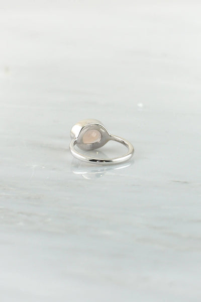 Morganite ring, Blush Silver ring, Stacking Ring, Wedding ring, Silver ring, Bridal gift, Gemstone Ring , Gift for wife, Faceted ring
