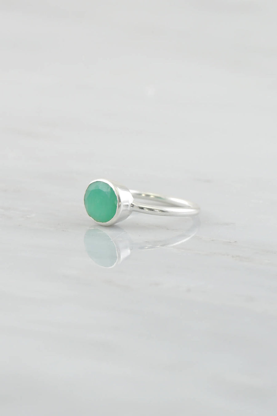 Gemstone rings, Chrysoprase Ring, Silver Gemstone Ring, Stackable Ring, Gold Ring, Oval Ring, Green Gemstone Ring, Faceted Ring