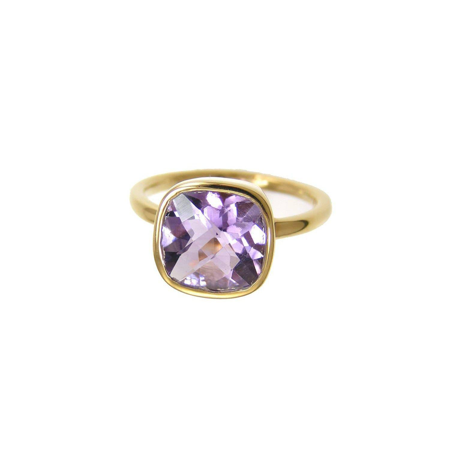 Amethyst ring, Purple Amethyst, February birthstone, Stackable Cushion cut ring, square shape, purple ring, gift for her, sterling silver