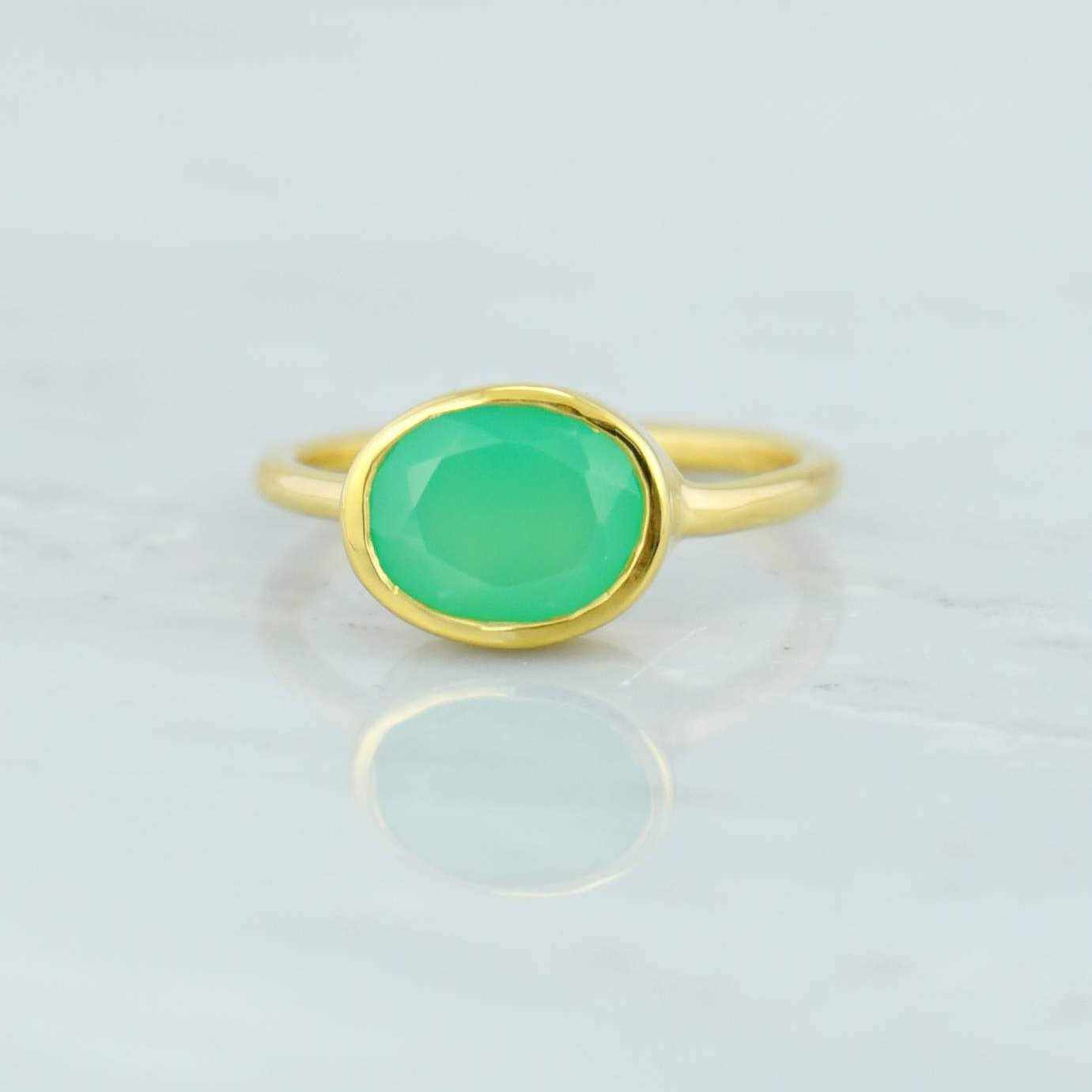 14k Solid Gold Ring, Chrysoprase Ring, Gemstone Ring, Stacking ring, Simple ring, Natural Stone ring, Genuine Stone ring, Solid Gold ring