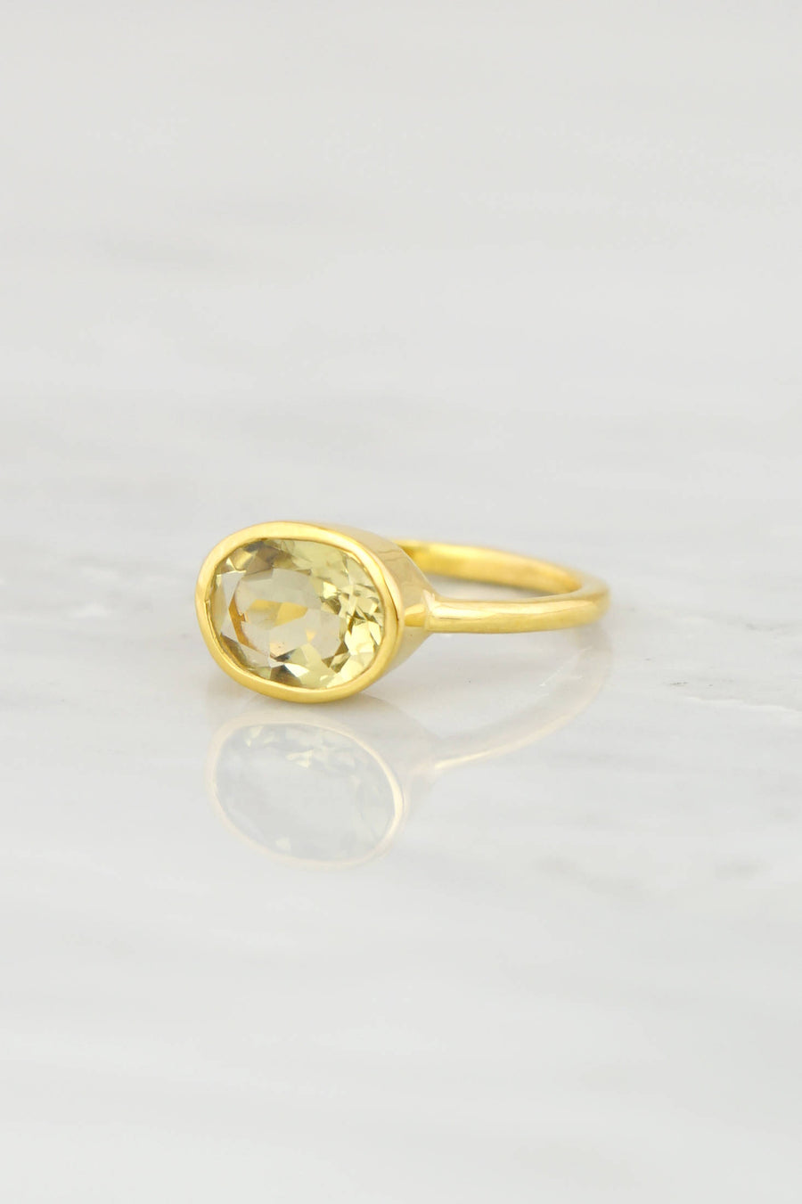 14k Gold Ring, Lemon Quartz Ring, Gemstone Ring, Stacking ring, Statement ring, Natural Stone ring, Genuine Stone ring, Solid Gold ring