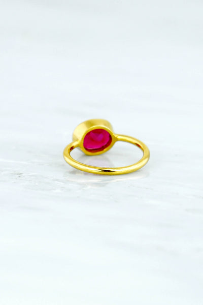 Pink Spinel Quartz Ring, Christmas gift for her, Fuchsia ring, Gemstone rings,  Stackable Ring, Oval Stone Ring, Pink Ruby Red Stacking Ring