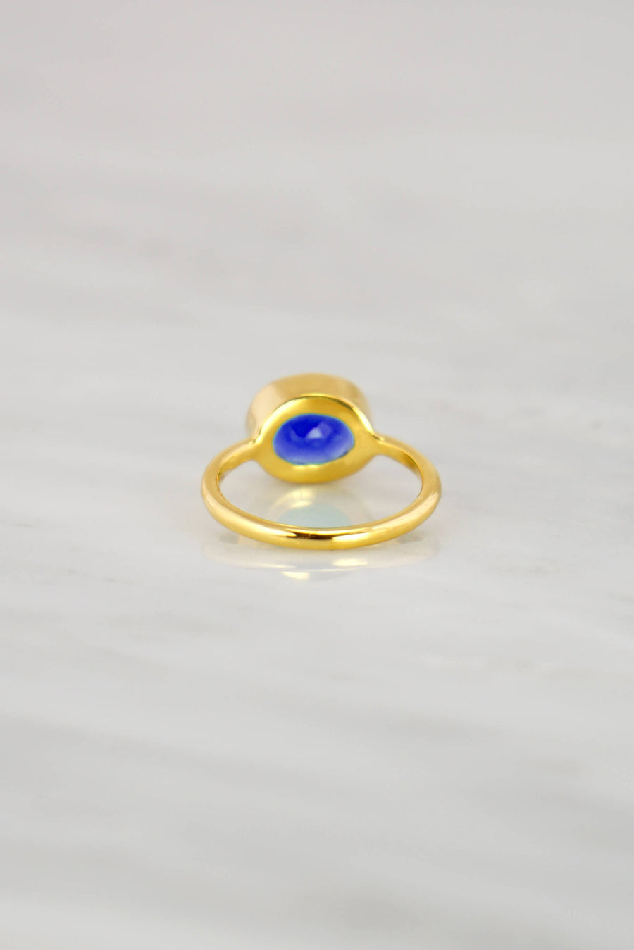 Blue Sapphire Ring, Gold and Silver Stackable ring, September Birthstone Ring, Stacking ring, Blue Gemstone Ring, Ceylon Sapphire ring