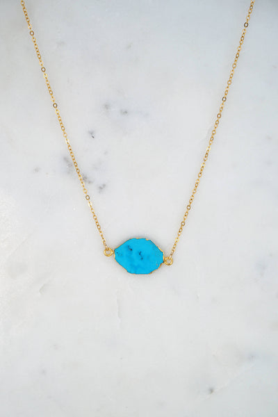 Christmas gift for wife, Turquoise Delicate Necklace, Blue Gemstone Necklace, December Birthstone Necklace, Gemstone Delicate Gold Necklace