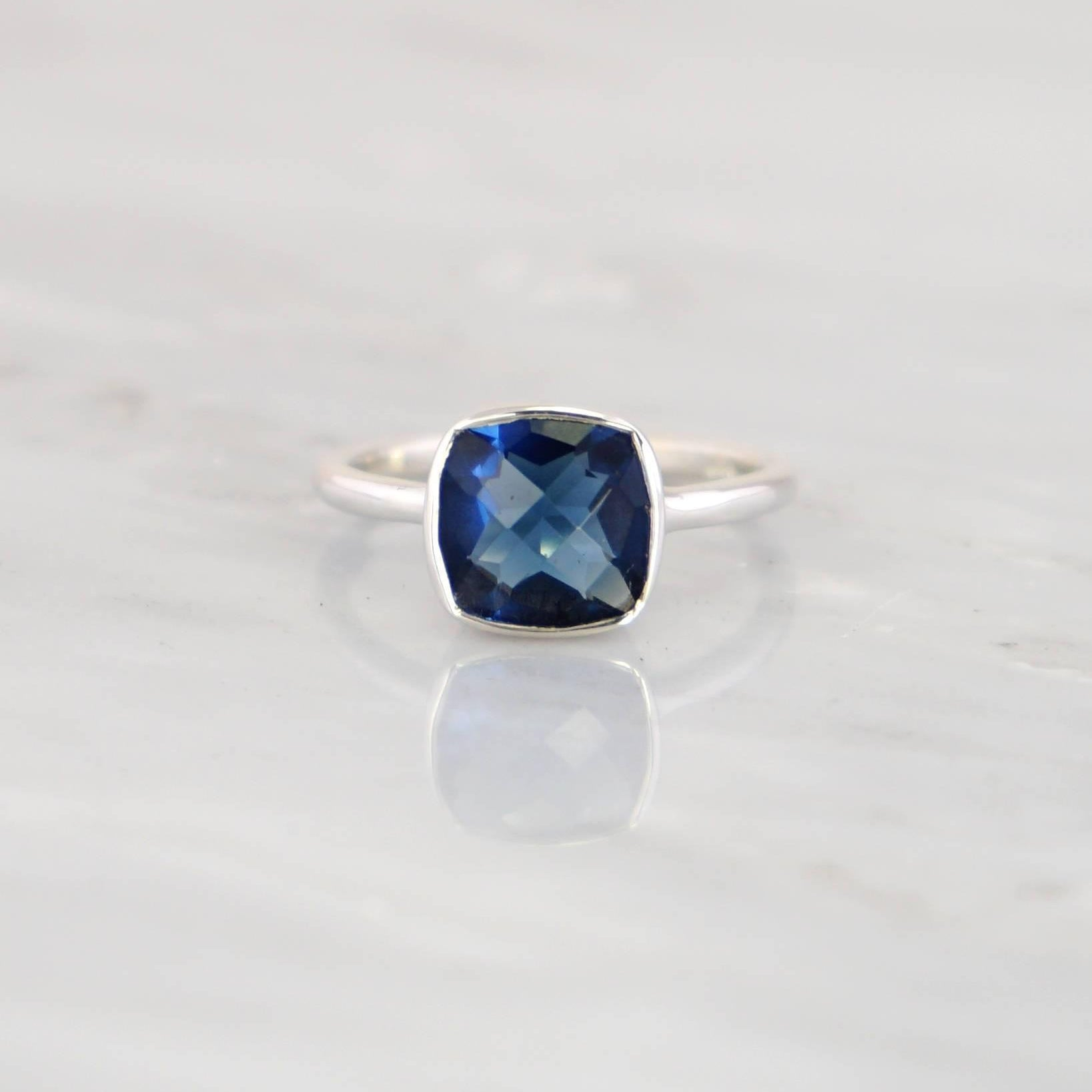 Blue Sapphire Ring, September Birthstone Ring, Stackable Cushion cut ring, sterling silver,Sapphire Hydrothermal ring