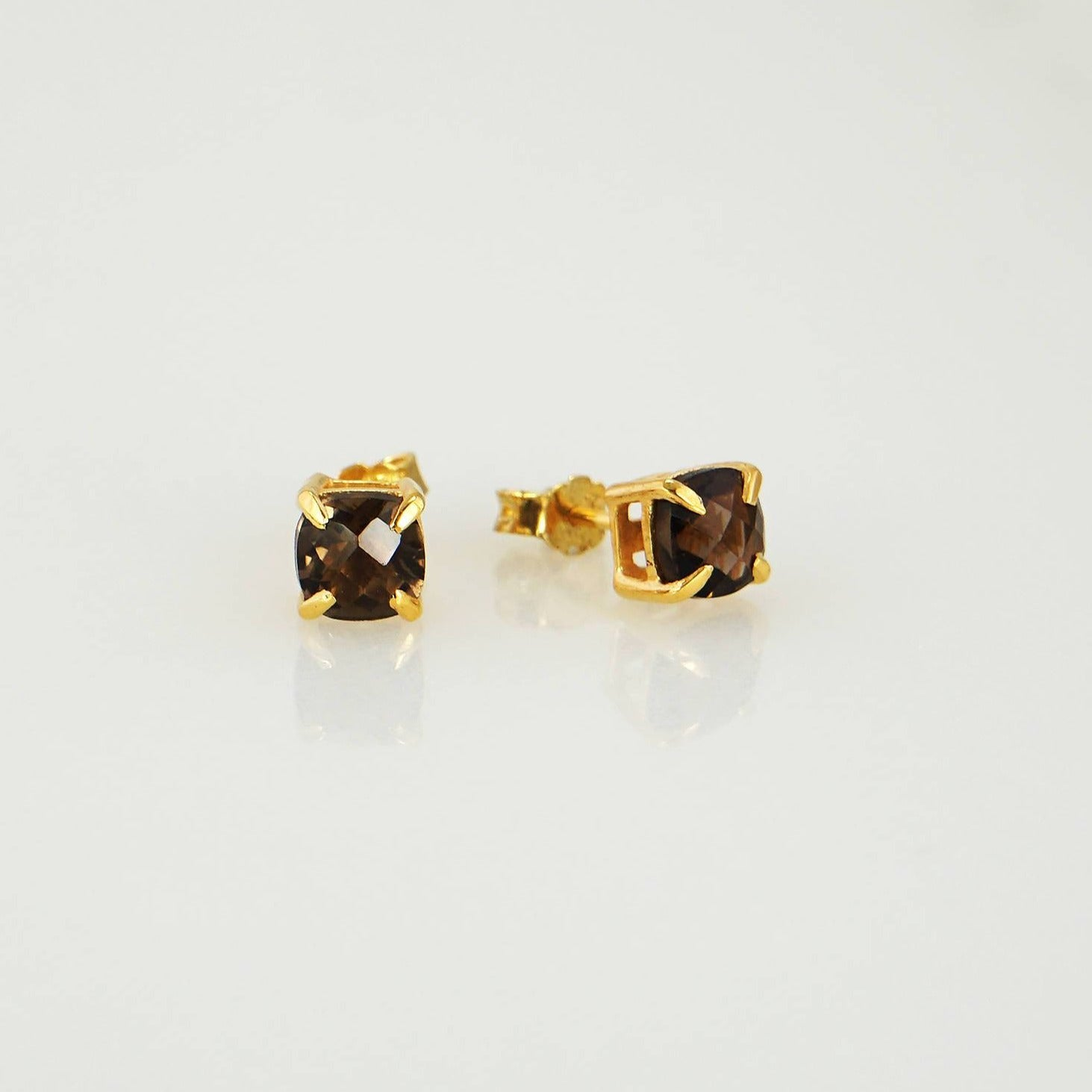 Minimalist Earring studs, Smoky Quartz studs, Gems Studs Earring, Gemstone Studs, Cushion Studs, Tiny Studs, Small Stone Studs Earrings