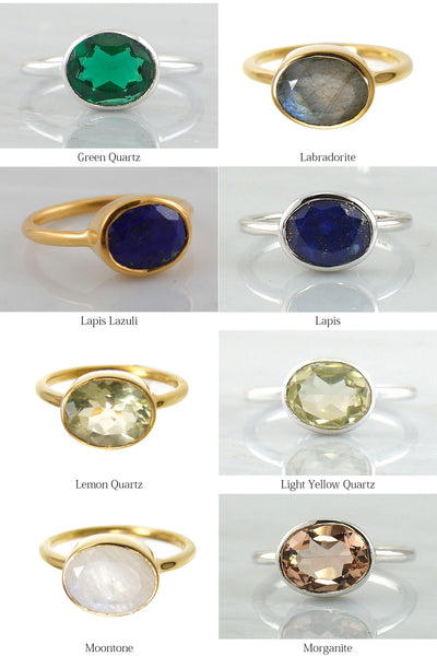 Gems Ring - Duo Combination Rings - Gemstone rings - Gemstone Ring - Stackable Ring - Gold Ring - Oval Ring -Cushion Ring - Gemstone Ring