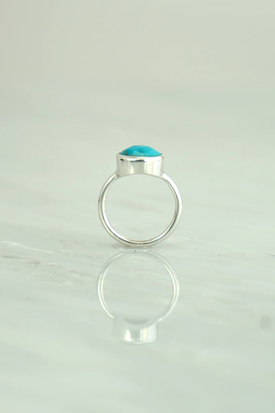 Turquoise Ring, Oval Turquoise Ring, Sleeping Beauty Ring, December birthstone, Silver Ring, 925 Silver,Everyday Ring,Stackable rings