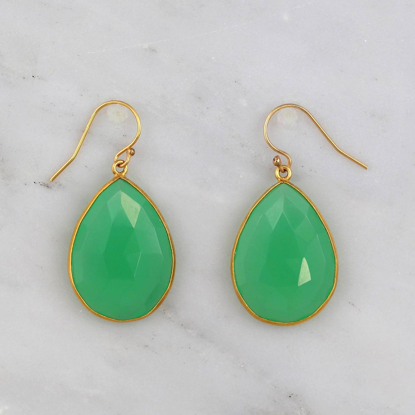 Chrysoprase Earring, Drop and Dangle Earring, Green Gemstone Earring, Gold filled wires Earring, Large Gemstone Earring, Elegant Earring
