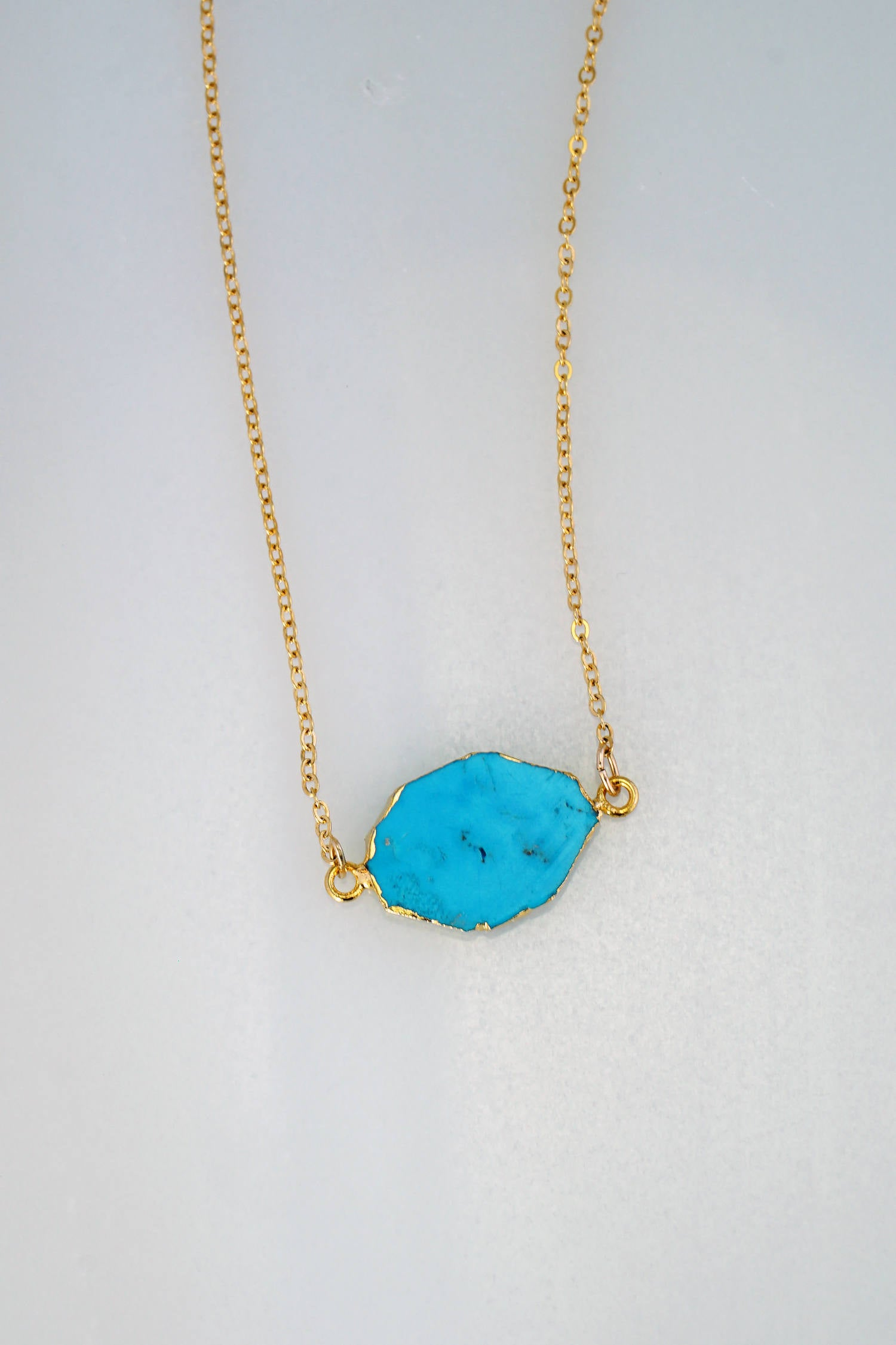 Gemstone Delicate Gold Necklace Blue Gemstone Necklace Christmas gift for wife December Birthstone Necklace Turquoise Delicate Necklace