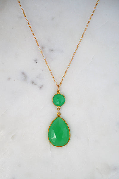 Chrysoprase Necklace, Two Tier Gemstone Necklace, Bezel set necklace, Jewelry gift for Christmas, Teardrop Pendant Necklace, Gold Necklace