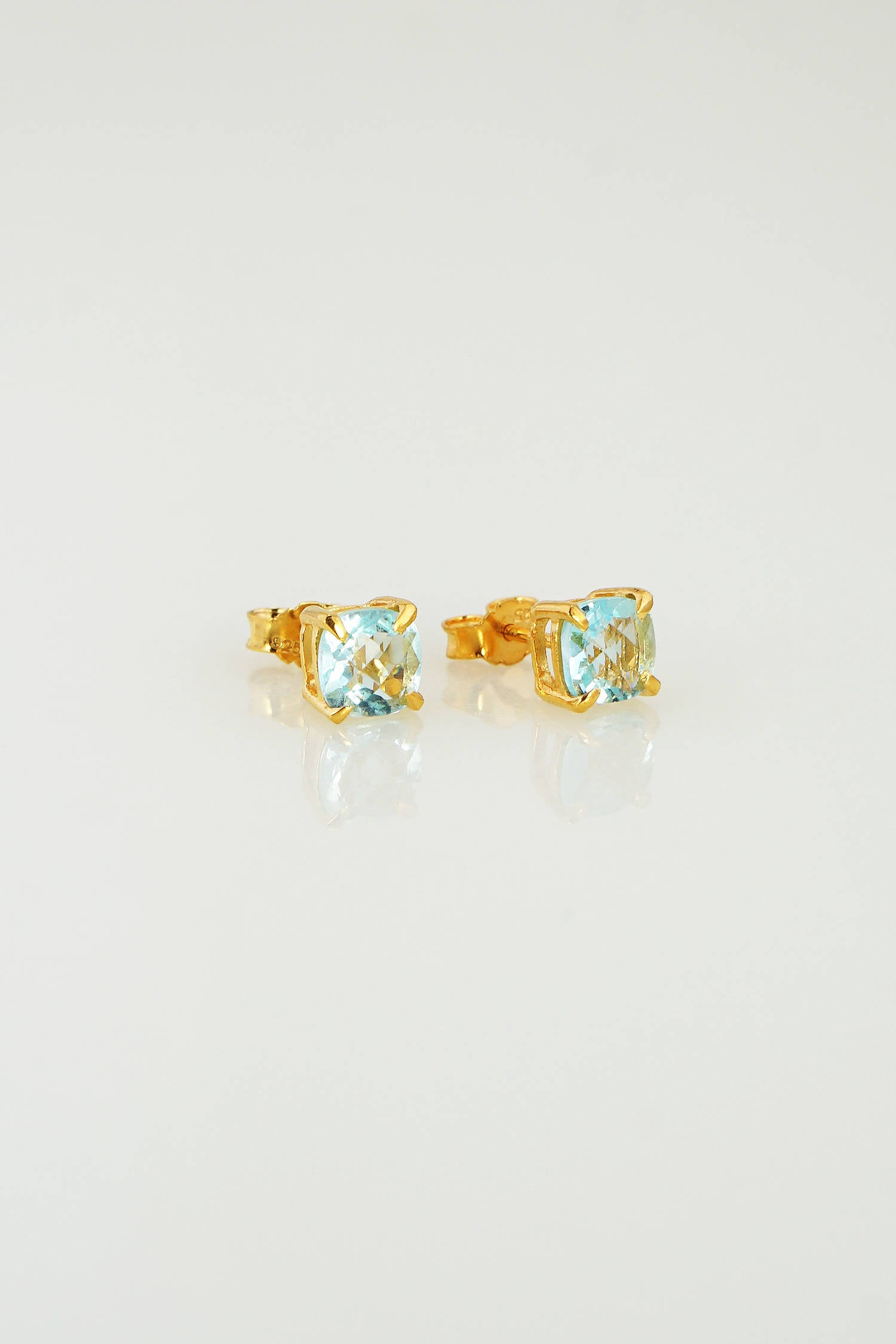 Aquamarine Post Earring, March Birthstone Studs, Minimalist studs, Tiny Studs, Cushion Shape Studs, Gemstone Studs, Gift for her