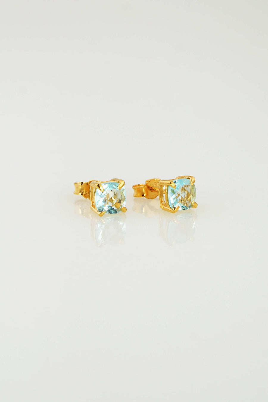 8974072b3 Aquamarine Post Earring, March Birthstone Studs, Minimalist studs, Tiny  Studs, Cushion Shape