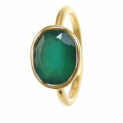 Green Onyx Ring - Green Emerald Ring Onyx - Gold Ring - Oval Ring - Gemstone Ring - Stackable Ring - Bridesmaid ring