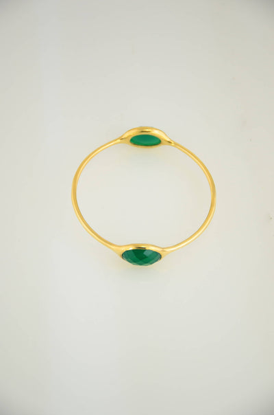 Emerald Green Bangle, Gems Bangle Bracelet, Christmas Gift, Birthstone Bangle, May Birthstone, Designer Bangle, Stackable Two stone Bangles
