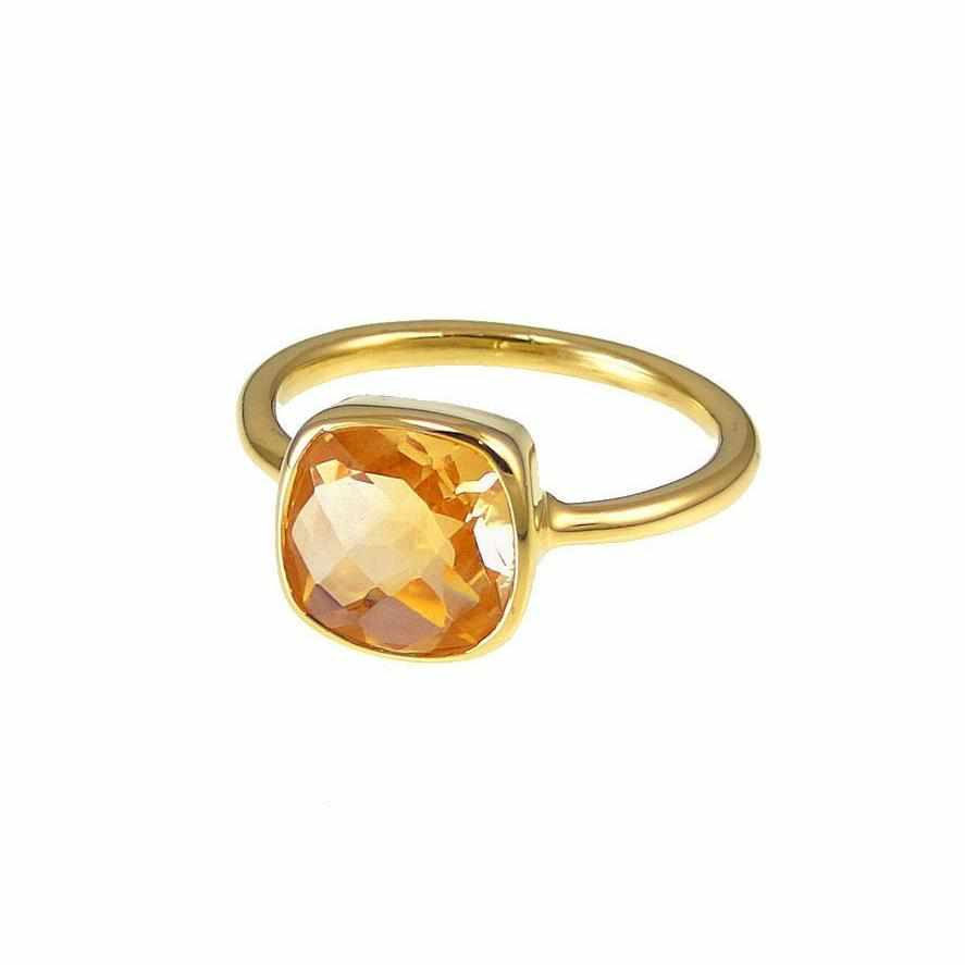 Citrine Ring - Fire Citrine Gemstone ring - Gold Ring - Cushion Ring - Square Gemstone Ring - Stacking Ring - Birthday gift for her