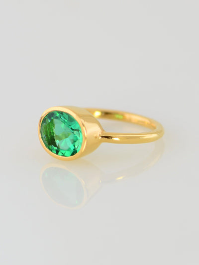 Green Emerald Quartz Oval Cut Ring, Solitaire Ring, Gems Ring, Gemstone Quartz Ring, Green Gemstone Ring, Stackable ring, Stacking Ring