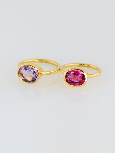 Duo Gemstone Ring, Purple Amethyst, Pink Spinel Quartz Ring, Fuchsia ring, Gemstone rings, Stackable Ring, Oval Stone Ring, Stacking Ring