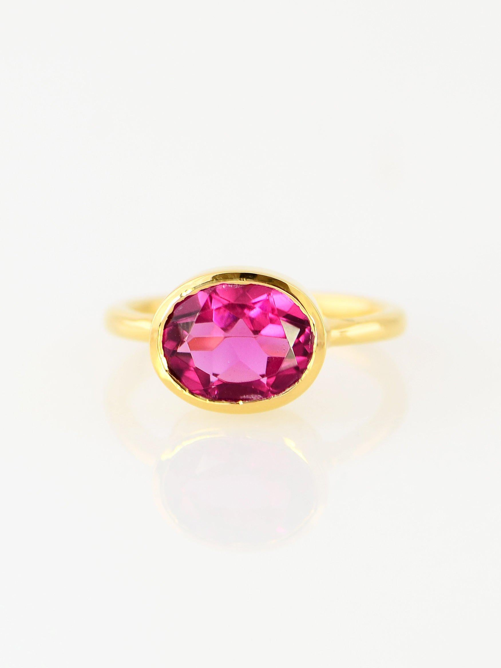 53d4738d7d49c Duo Gemstone Ring, Purple Amethyst, Pink Spinel Quartz Ring, Fuchsia ring,  Gemstone rings, Stackable Ring, Oval Stone Ring, Stacking Ring