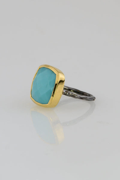 Turquoise Ring, December Birthstone ring, Statement gold bezel ring, Hammered band ring, Blue Gemstone ring, Cushion rings, Bezel set ring