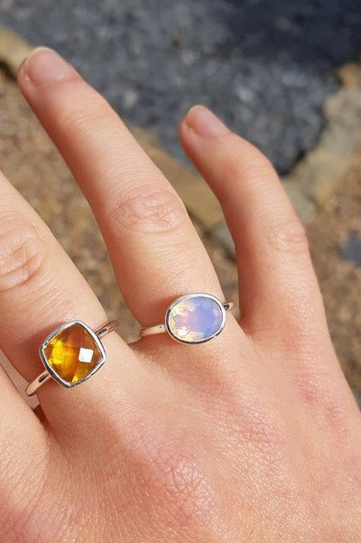 Opalite Ring, October Birthstone ring, Gold Stacking ring, Gemstone ring, Stackable ring, Bezel set Oval ring, Everyday ring, Birthday gift