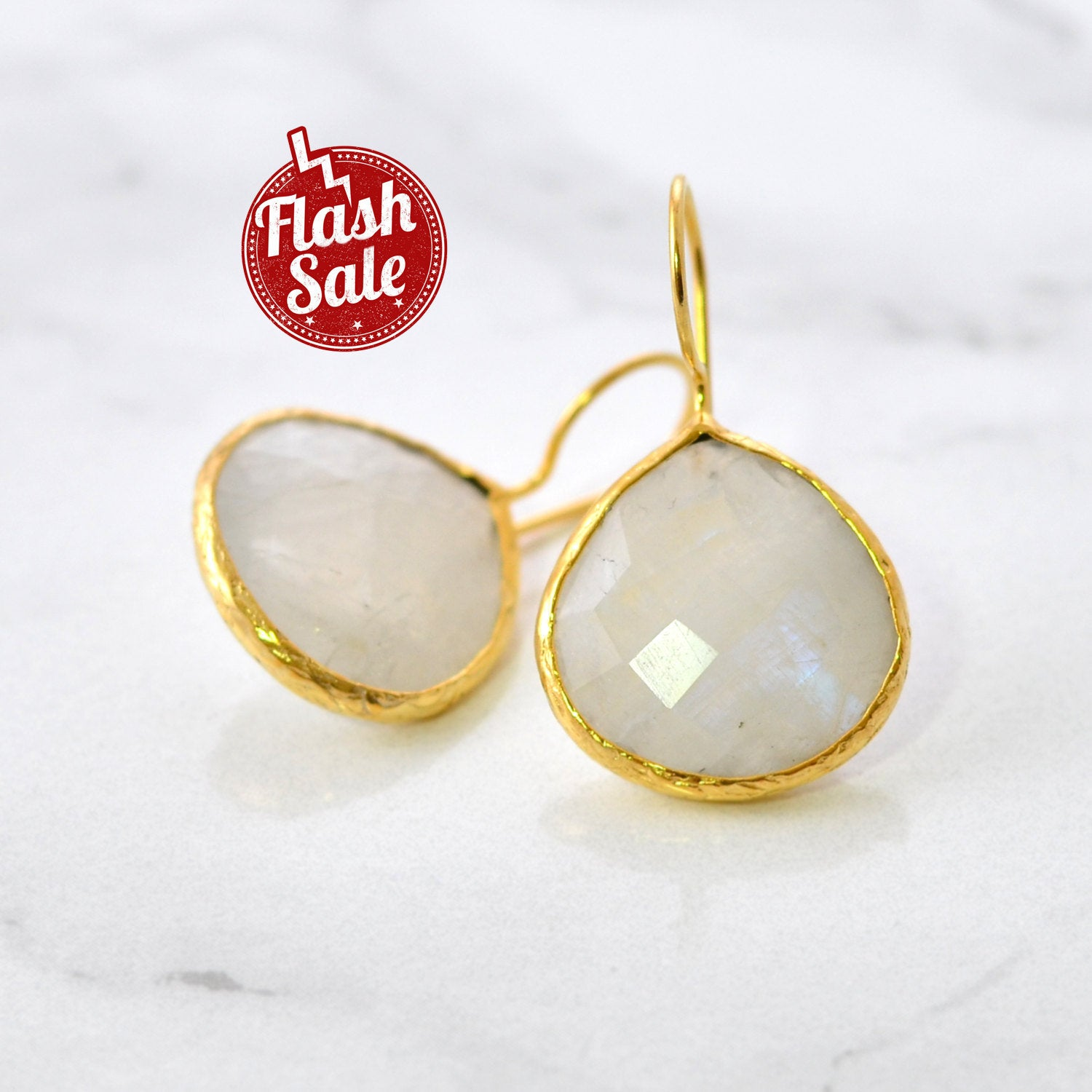 Rainbow Moonstone Earring, Bridesmaid Gift, White Gemstone Earring, Pear Shape Earring, Bridal Earring, Gold Vermeil Earring, Silver Earring