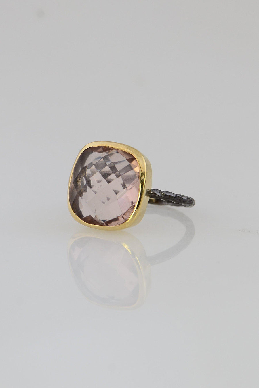 Morganite ring, Blush Gemstone ring, Statement ring, Oxidized Silver ring, Gemstone ring, Modern ring, Gift for her, Simple gemstone ring