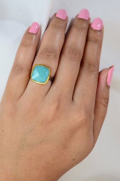 Aqua Chalcedony ring, Green Gemstone ring, Square Gemstone ring, Gift for girlfriend, Hammered band ring, Gemstone ring, Large Faceted ring