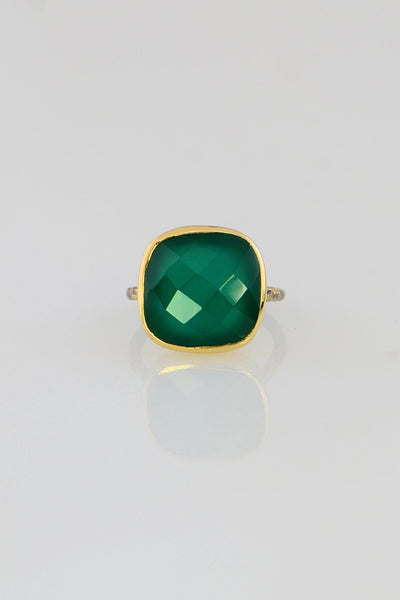 Green Onyx ring, Large gemstone ring, May Birthstone ring, Faceted bezel ring, Cushion shape ring, Birthday Gift for her, Everyday Ring