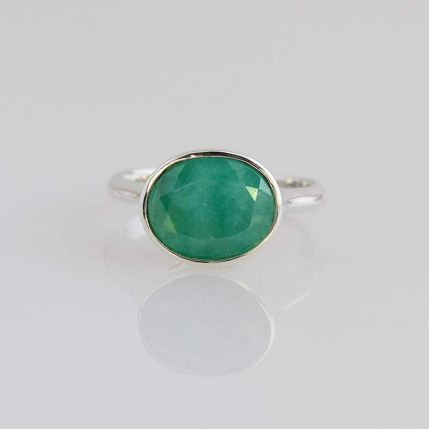 Gemstone ring - Gems Ring - Emerald Ring - Statement Ring - Gold Ring - Oval cut Ring - Custom Design ring - Green Emerald
