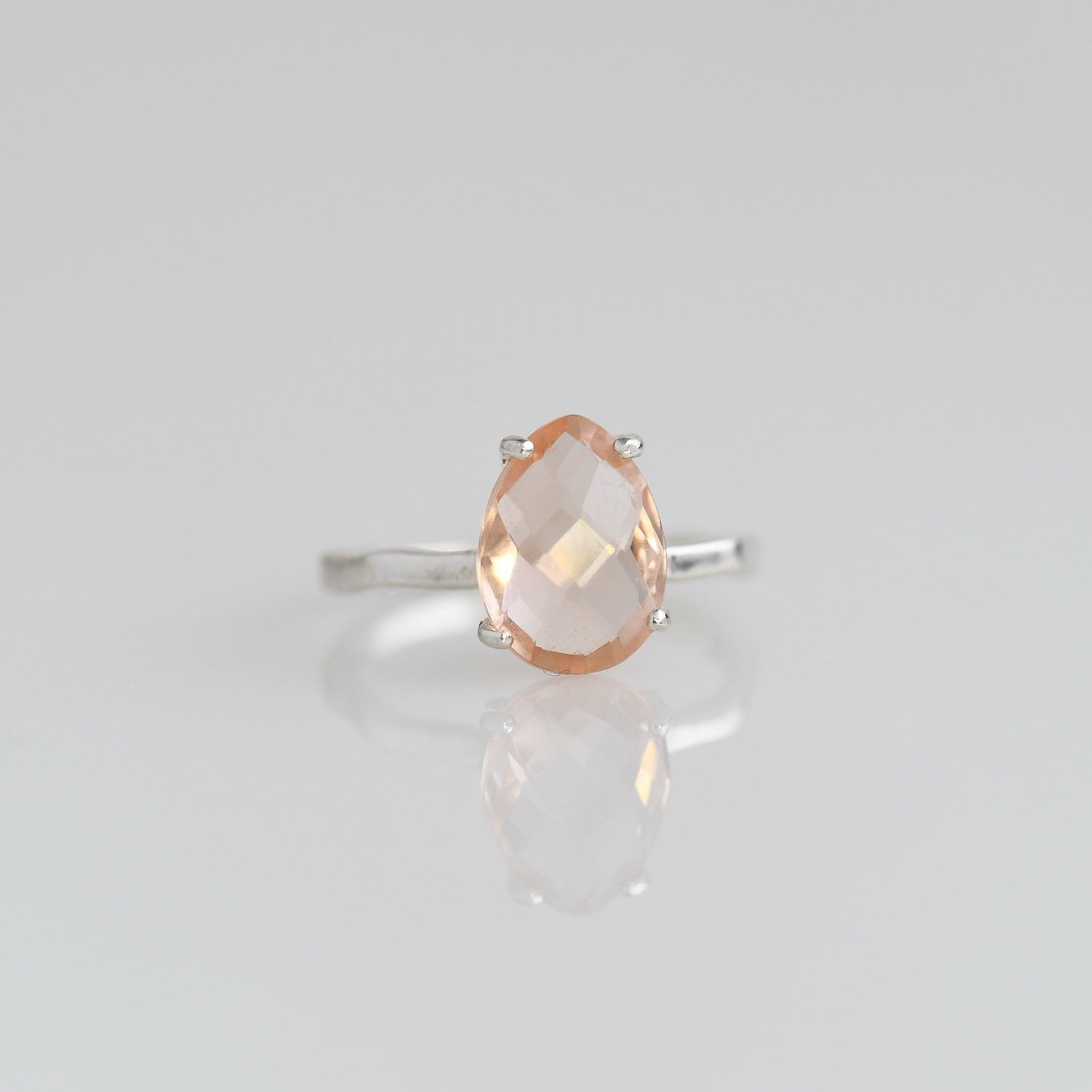 Morganite ring, Blush ring, Wedding ring, Bridal gift, Prongs set ring, Birthstone ring, Natural gemstone ring, Peach Gemstone ring