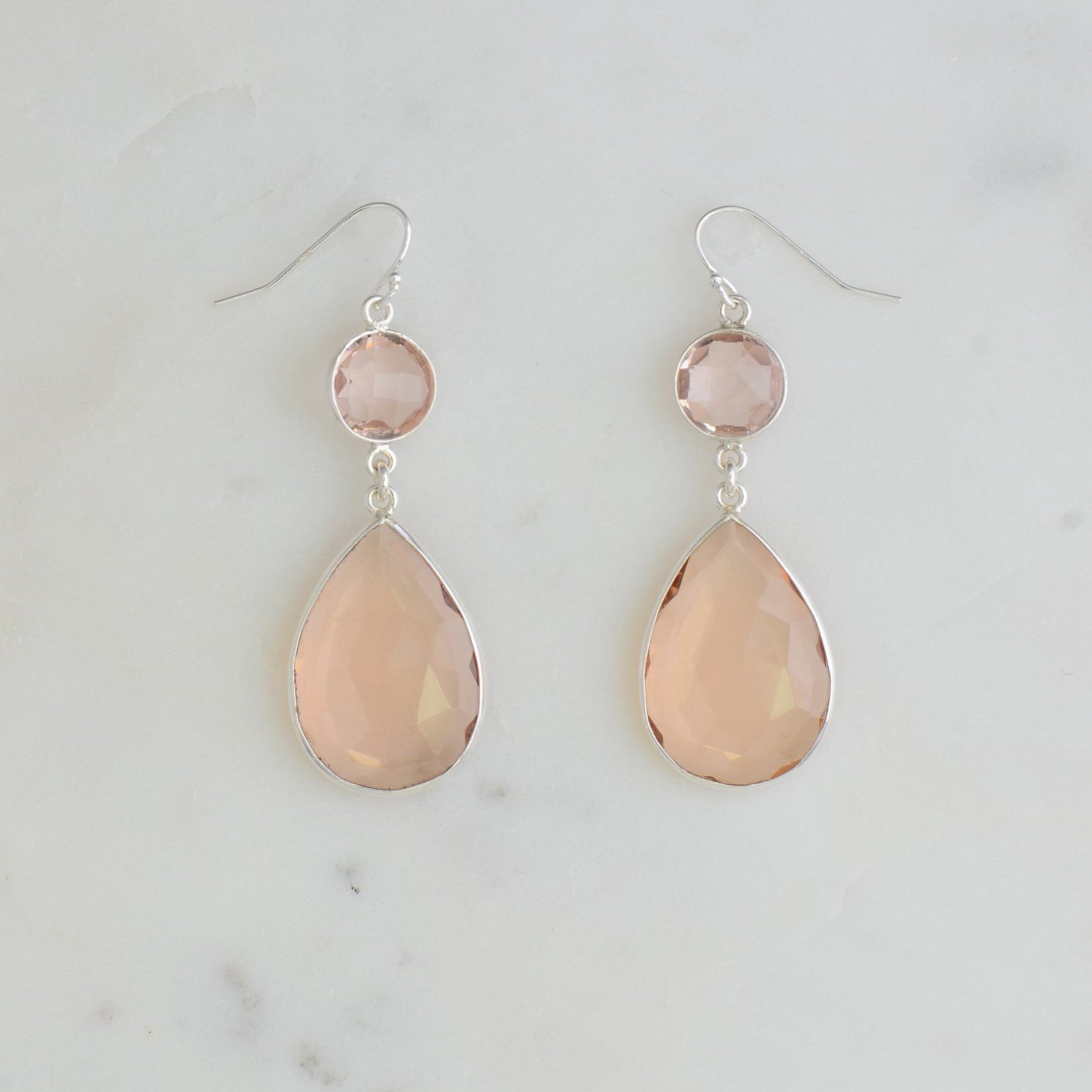 Morganite Quartz Earring, Blush Earring, Wedding earring, Sterling Silver earring, Two tier Earring, Dangling Earring, Bridal Earring