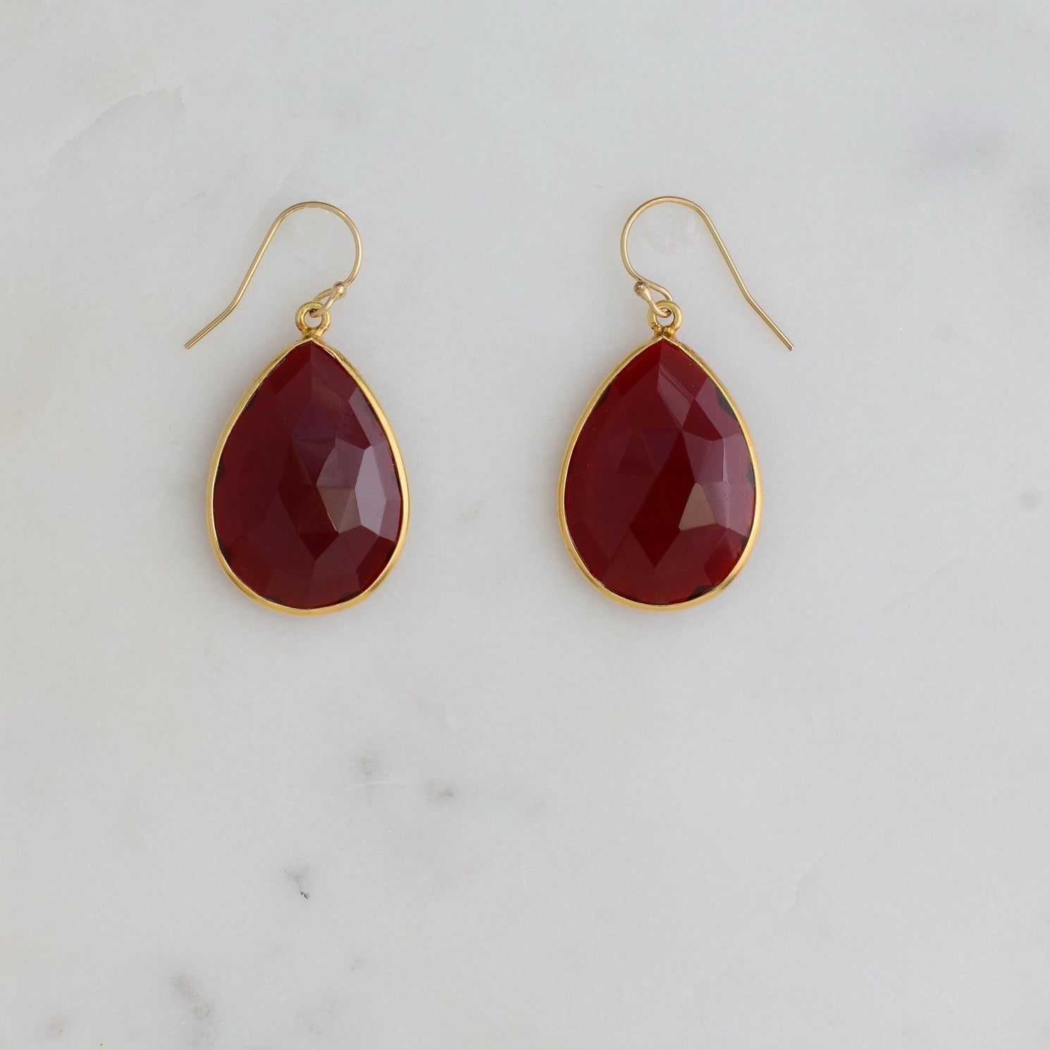 Garnet Bezel Earring, January Birthstone earring, Simple Earring, Valentine's Gift for her, Bezel set earring, Maroon Gemstone Earring