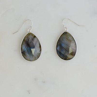 Labradorite earring, Blue Flare Gemstone Earring, Dangling Earring, Bezel set earring, Bridal earring, Everyday Earring, Gift for Wife
