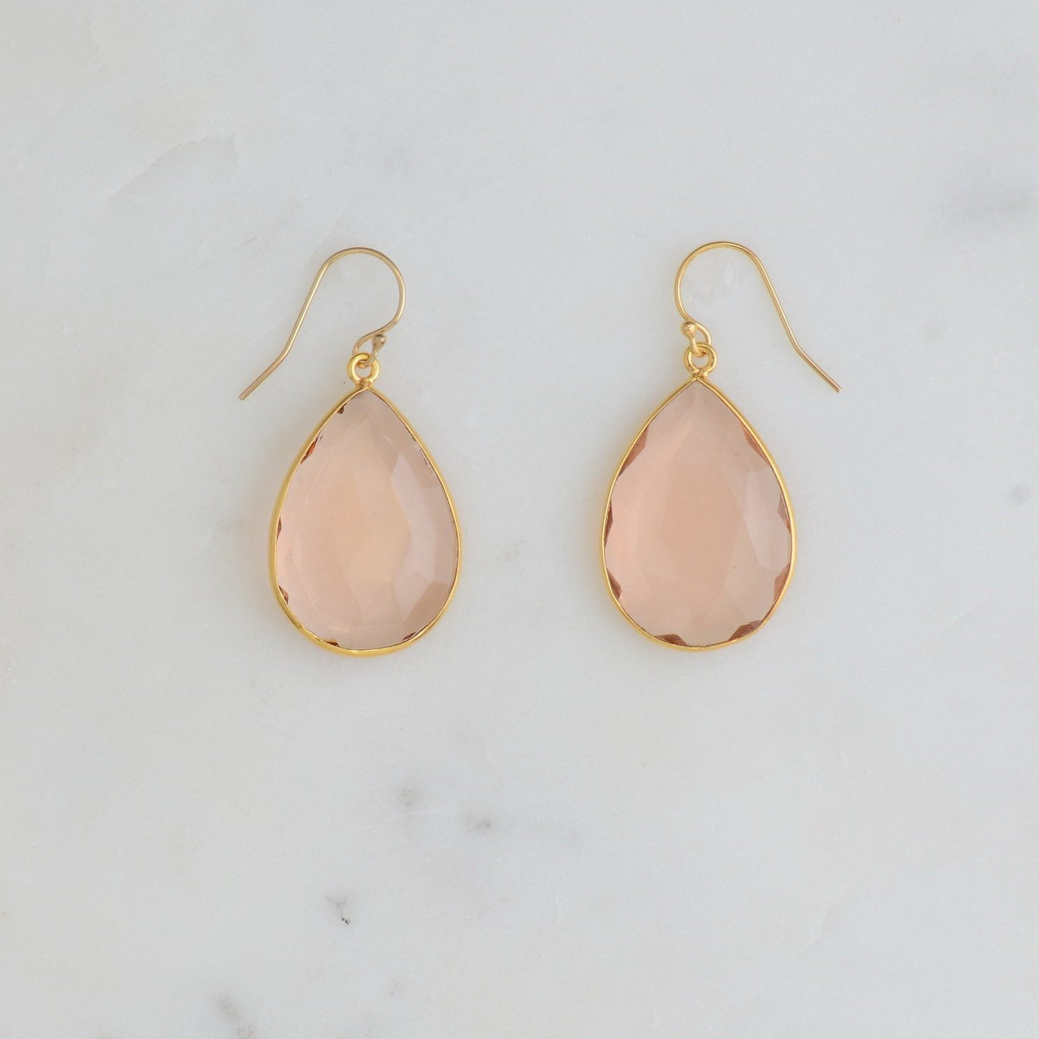Morganite Earring, Bridal Earring, Blush Earring, Bridesmaid Gift, Wedding Earring, Elegant Earring, Teardrop shape earring, Christmas Gift